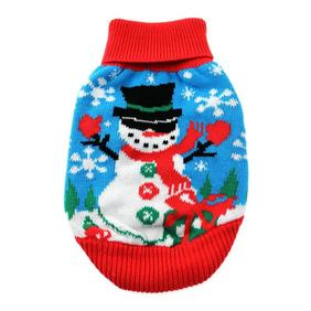 Combed Cotton Ugly Snowman Holiday Dog Sweater