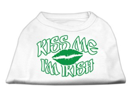Kiss Me I'm Irish Dog Tank in White