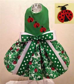 Big Dog Lady Bug and Shamrocks St Patrick's Day Dress